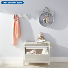 For our Purr-fectly Sweet Hooks  Bench Storage Solution, we've pulled together essentials to make it easy add a touch of sweet organization to any kid's space. Our Purr-fectly Sweet Hooks  Bench Storage Solution includes: (1) Cat Shelf, (1) Ice Cream Cone Hook Rack and (1) Clybourn Storage Bench.
