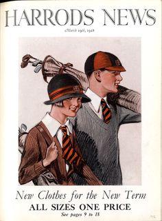 illustration : couverture de magazine 'Harrods News', 1928 Vintage Golf, Vintage Ads, Golf Images, Golf Art, Golf Fashion, Vintage Travel Posters, Illustrations And Posters, Gravure, Ladies Golf