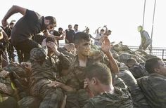 Captured Turkish soldiers being beaten and lynched after getting arrested for the failed coup attempt in Turkey.