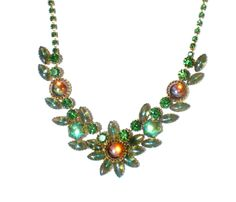 Formal Vintage Necklace with Green and Orange Rhinestones on Gold Tone