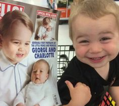 An adorable little boy had the best reaction ever after he realized he could totally pass for Prince George.