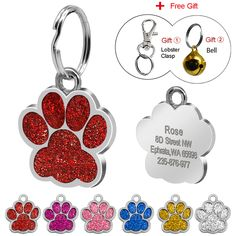 9155680db455 Glitter Custom Pet Dog Tag Personalized Engraved Dogs Cat ID Tags Free Hook  & Bell Pink Blue Silver Red Colors Paw Shape - HotDoggi