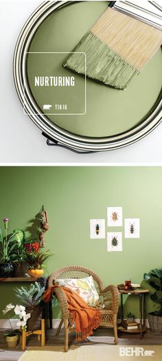 The BEHR Paint Color of the Month, Nurturing, is the perfect choice for your interior design scheme. This light green pastel hue is calming and peaceful, fitting in beautifully with a boho-chic home decor style. Behr Paint Colors, Bedroom Paint Colors, Paint Colors For Home, House Colors, Wall Colors, Painting Bedrooms, Living Room Green, Living Room Paint, Living Room Colors