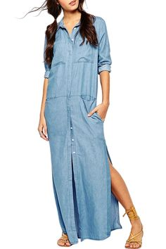 Blue Denim Long Sleeve Maxi Dress