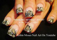 """no water marble"" ""nail art"" ""no water marble technique"" ""marbling without water"" ""nail marble"" ""marble nails"" ""no water marble nails"" ""nail swirls"" how-to diy nail art water marble no water needed gold black white"