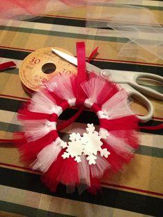 Mini Tutu wreath ornaments! Made with shower curtain rings!