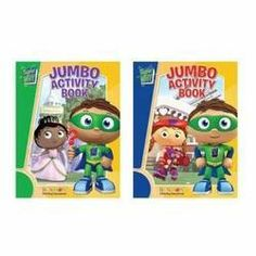 Super Why Jumbo Activity Book 2-Pack by Activity & Coloring Books, http://www.amazon.com/dp/B002URS648/ref=cm_sw_r_pi_dp_ZC99rb0BMV80K  So...it's characters and it's just a couple of activity books, but the 3/almost 4 year old...happy as a clam