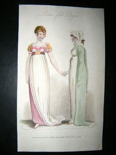 Belle Assemblee 1808 Hand Col Regency Fashion Print London Full Dress - Van Dyke points