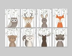 Woodland Print Set for a woodland themed Nursery - Cute forest animals decor for kids bedroom or nursery.  This adorable wall art of eight prints features cute woodland animal illustrations: Owl Deer Rabbit Bear Squirrel Moose Raccoon and Fox on a birch tree background with green leaves. The background color used is white, but is fully customizable. Just choose the Custom Color option and leave a note for me with the order if any changes are required.   ▶ ITEM DETAILS:  • set of 8 art prints