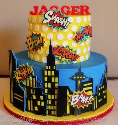 Comic book-style superhero cake featuring edible image decorations.