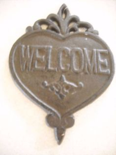 "NEw garden wall decoration cast iron Welcome sign decoration HEAvy picture #hobbylobbyfor sale in my store The Chic N Prim cottage ebay have to put in the ""the "" in search engine $10 FREE Shipping when you spend $30 or more!"