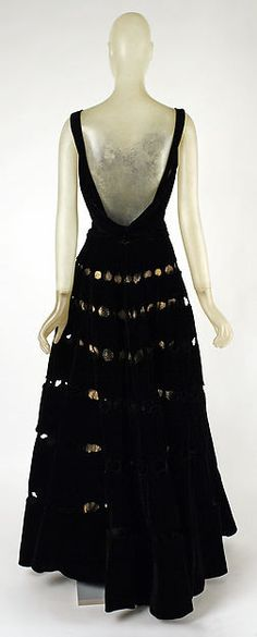 Evening dress (image 2 - back) | Madeleine Vionnet | French | fall/winter 1939-40 | silk, metal thread | Metropolitan Museum of Art | Accession Number: C.I.46.4.5a, b