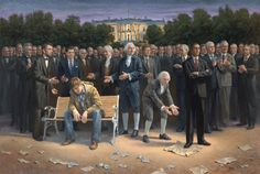 Painting featuring all the US Presidents. Roll over the picture of each one to get biographical federal details*very right-wing biased!*