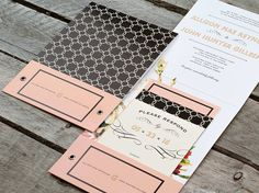 Southern Charm Pocket Wedding Invitation Suite or by PaperSnaps
