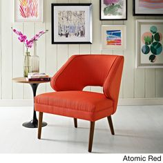 Modway Dock Fabric Mid Century Armchair (Atomic Red Orange) (Foam)