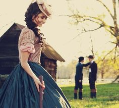I love the outfits they put on Katherine (Nina Dobrev) in the 1800's. I also love the 1800's look on Damon (Ian Somerhalder) and Stefan (Paul Wesley).