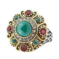 Rhinestone India Style Women's Agate Crystal Statement Fashion Ring Jewelry Gift