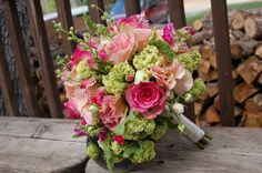 Pink & Green Bouquet.  Rainbow Balloons, Flowers & Gifts.