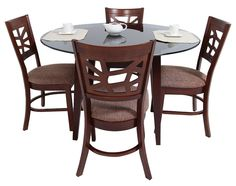 Amuebla tu hogar con lo mejor de Commodity, como este elegante Juego de Comedor, modelo COCO_COM4, mesa redonda con top de vidrio templado, 4 sillas de madera.