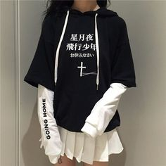 17.97  Aliexpress.com  Acheter Harajuku Noir Croix Blanche À Capuche Pull  Cool Streetwear Mode Manches Longues Pull Polaire Femmes Casual Patchwork  Tops de ... dd3daf14269