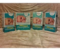 1974 VINTAGE Pampers Diapers Sample Packs in original packaging, unopened. RARE! RARE!! RARE!!! One 9 pack, one 6 pack, two 3 packs. Make an offer. These are very rare and VERY valuable!