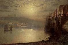 Whitby Painting by John Atkinson Grimshaw Atkinson Grimshaw, Whitby Abbey, Moonlight Painting, Canvas Art, Canvas Prints, Paintings I Love, Antique Photos, North Yorkshire, Moon Art