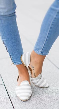 Grey and white stripe d'Orsay flat with ankle zip denim