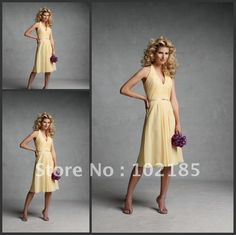 WHITE OR IVORY Free Shipping Glamorous Halter Sashes A-line Chiffon Knee-length Prom Dresses Gowns And 2012 Latest Bridesmaid Dresses on AliExpress.com. $89.99