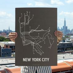 NYC Screen Print Charcoal Brown  by LinePosters