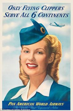 The grinning face of an air hostess on a poster from 1950...