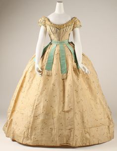 Ball Gown: ca. 1867, French, silk, cotton.