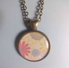 Flower Vintage Necklace Antique Brass 24 Inches by RoseyJohnny, $4.97