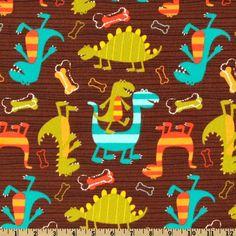 Michael Miller Flannel Dino Dudes Brown - Discount Designer Fabric - Fabric.com