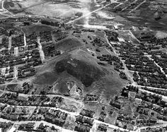Bernal's two hills, seen in the 1920s before Bernal Heights Boulevard was constructed and the smaller hill was leveled.   << back to previous page