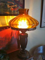 Antique Table Lamps and Light. Oak. Rewired. c1880
