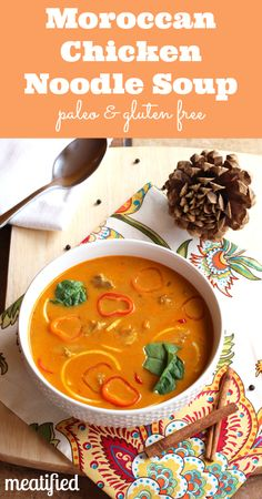 Moroccan Spiced Paleo Chicken Noodle Soup from http://meatified.com #paleo #glutenfree #chickensoup #noodles