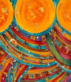 """Soleil Tribal"" Modern Batik / Artist: Gabrielle Lasporte ByGabrielle Modern Batik + Textile Art"