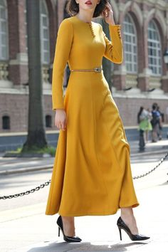 A Line Maxi Dress - YELLOW S