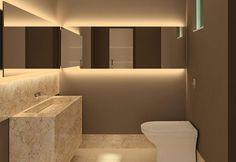 """A lâmpada fluorescente, além de ser a mais econômica, oferece iluminação geral ao ambiente, mas tem sido frequentemente trocada por fita de led, que apresenta maior durabilidade. As duas são mais indicadas para o uso em espaços onde se pede uma luz geral. Já no banheiro, o ideal é a utilização de lâmpadas dicroicas mescladas a fluorescente"""""""