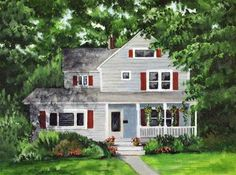 """Daily Paintworks - """"House with Red Shutters"""" - Original Fine Art for Sale - © Nan Johnson"""