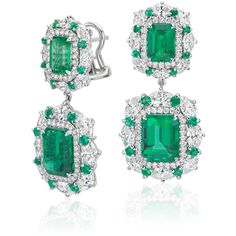 Blue Nile Emerald and Diamond Halo Drop Earrings featuring polyvore women's fashion jewelry earrings emerald earrings emerald jewelry green drop earrings round earrings earring jewelry