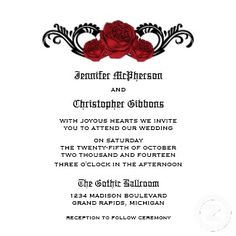 Elegant Gothic Swirl Roses Wedding Invite #roses #gothic #wedding