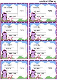 Crachás de identificação para imprimir grátis Corujinha Carla Santos, Printable Planner, Free Printables, Blank Sign, English Class, Professor, Clip Art, Teacher, Activities