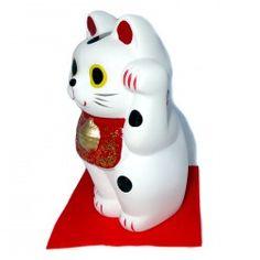 Maneki Neko blanc, chat porte-bonheur japonais