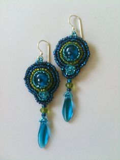 Blue & Green Large Bead Embroidered Earrings by Jeka Lambert.  Glass beads, seed beads.