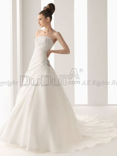 Ball Gown Organza Strapless Sweep Church Natural Wedding Dresses With Crystal/Rhinestone And Lace, Wedding Dresses, Wedding Dress, wedding gowns   www.duduta.com