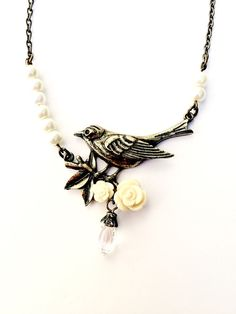 Gold Bird Necklace Pearl Necklace Vintage by CreativelyCraftedGA