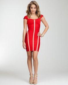 Red Colorblock Cutout Bandage Dress!