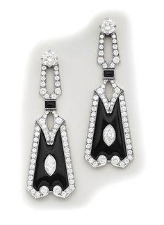 Art Deco Marquise-cut diamond, diamond, onyx and platinum earrings.
