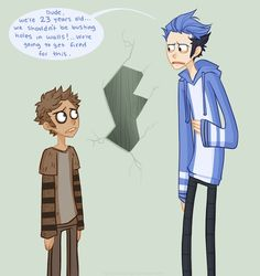 This is a pretty good likeness of mordicai and rigby as humans.